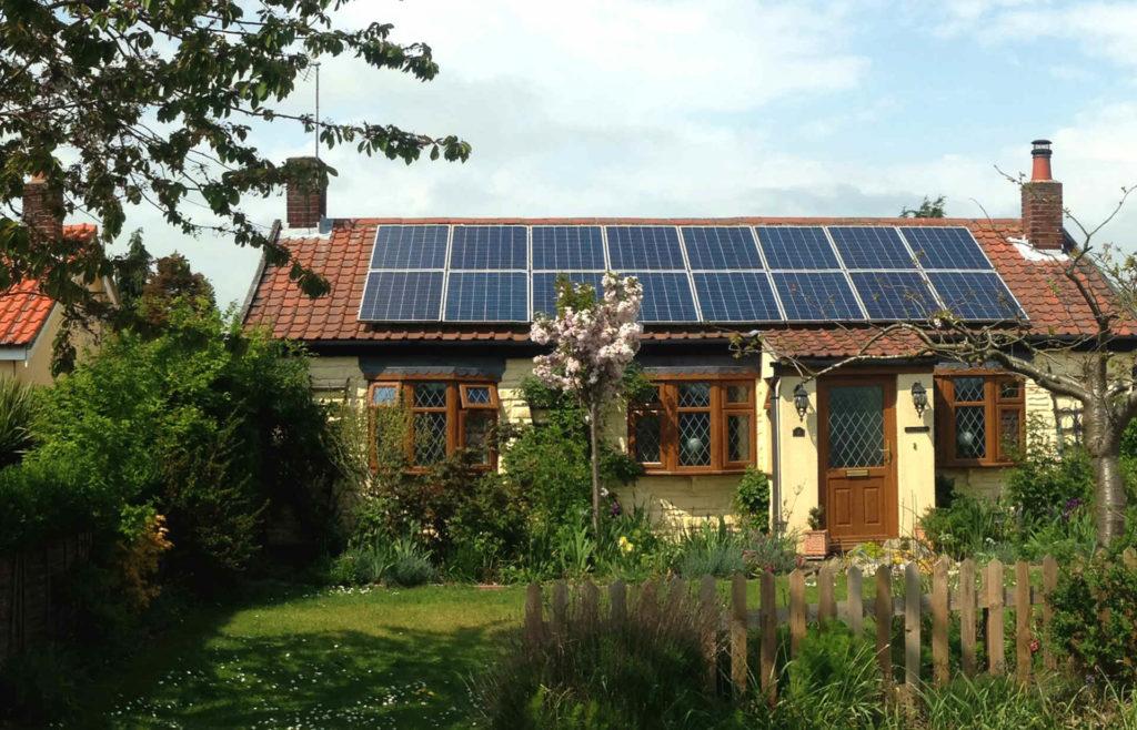 cottage solar panel installation